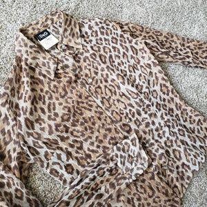 DOLCE & GABBANA Sheer Leopard Button-Up Blouse